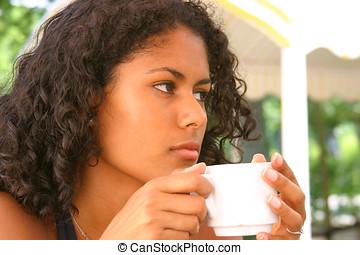 Having a coffee