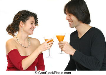 Having a toast - Attractive young couple toasting