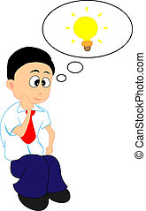 Having An Idea - Vector Illustration of A Man Having An Idea...