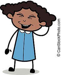 Having Fun and Laughing - Retro Black Office Girl Cartoon Vector Illustration