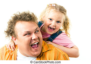 Having fun - Photo of happy father and daughter screaming...