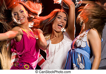 Having fun - Photo of joyful teenage girls having fun on...