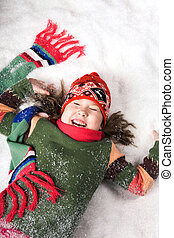 Having fun - Photo of playful girl enjoying winter day and...
