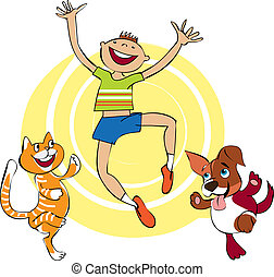 Having fun - Vector cartoon of group of a cat, dog and boy...