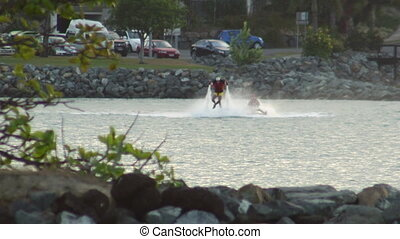 Having fun with a jet ski and a water jet pack - A long shot...