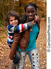 Having fun with my adoption sister - Happy children in the...