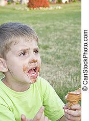 Having ice cream.