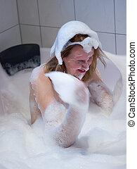 Having lot of fun with the foam in the whirlpool