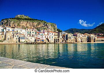 havn, cefalu, sicilien, udsigter