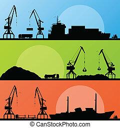 havn, faglig transport, skibe, vektor, seashore, kran, ...