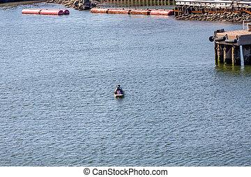 havn, paddel båd