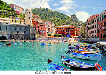 havn, terre, italien, farverig, cinque