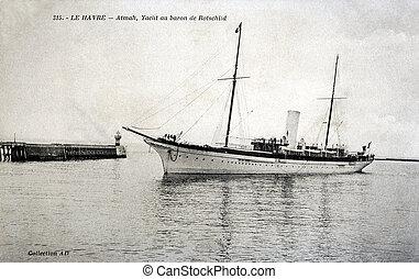 havre, rotschild, yacht, vieux, atmalt, carte postale, baron