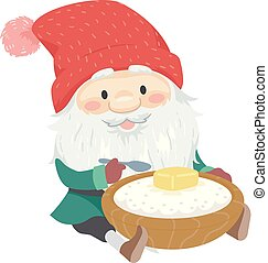 havregrød, jul, sverige, illustration, tomte, mand