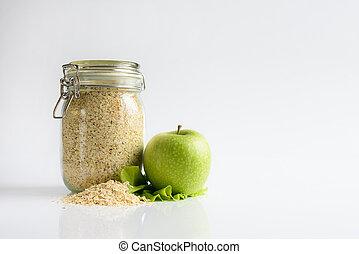 havremjöl, och, grön, apple., frisk mat
