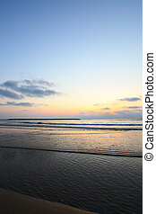 havsstrand, solnedgång
