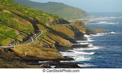 hawaï, côte pacifique, rivage, oahu, sud