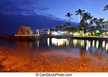 hawaï, coucher soleil, luau, après, partie plage