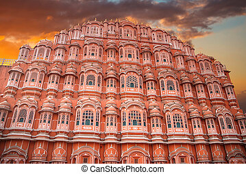 Hawa Mahal - a five-tier harem wing of the palace complex of...