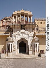 Hawa Mahal, the Palace of Winds, Jaipur, Rajasthan, India. -...