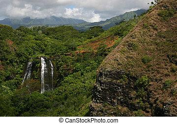 hawai, cascata, in, montagne