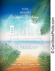 hawaiano, cartel, luau, aviador, banquete, plantilla, ...