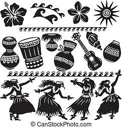 hawaiano, conjunto, con, bailarines, y, instrumentos...
