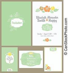 hawaiano, luz, set., boda, elisabeth, invitación, green., ...