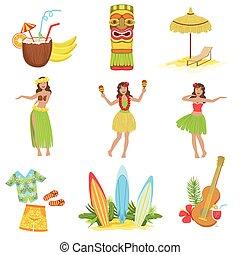 hawaiano, símbolos, clásico, conjunto, vacaciones