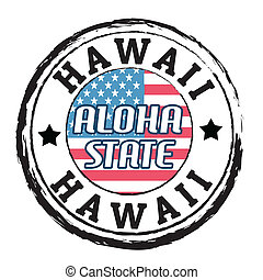 Grunge rubber stamp with flag and the text Hawaii, Aloha state, vector illustration