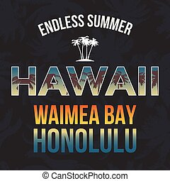 Hawaii beach tee print with palm tree. T-shirt design graphics stamp label typography. Vector
