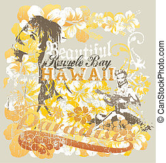 hawaii beutiful crack - illustration for shirt printed and...