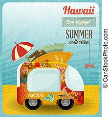 Hawaii Card Bus - Hawaii Card. Bus on the Beach. Vector...