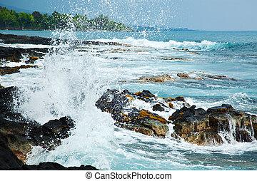 Hawaii coast - Coastal view on the Big Island of Hawaii with...