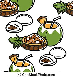 Hawaii food and drink seamless pattern fruit salad and pastry