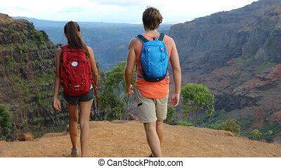 Hawaii hiking - people on hike in Waimea Canyon Kauai - ...