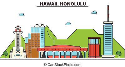 Hawaii, Honolulu. City skyline: architecture, buildings, streets, silhouette, landscape, panorama, landmarks, icons. Editable strokes. Flat design line vector illustration concept.