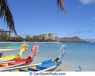 Hawaii Honolulu Waikiki beach. boats