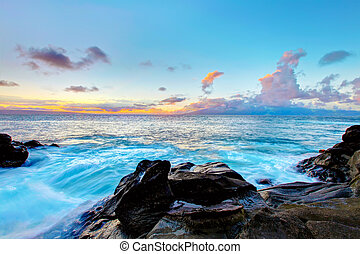 hawaii., ilha, costa, ocean., maui, linha, penhasco