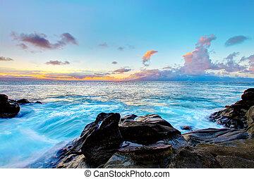 hawaii., isla, costa, ocean., maui, línea, acantilado