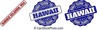 HAWAII ISLANDS, USA Scratched Stamp Seals