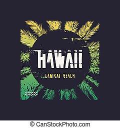 Hawaii Lanikai vector graphic t-shirt design, poster, print.