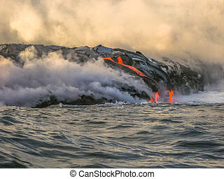 Hawaii lava eruption - Volcanic activity with smoke and...