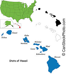 Hawaii map - Illustration of State of Hawaii, USA