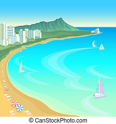 Hawaii ocean bay blue water sunny sky summer travel vacation...