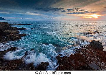 hawaii, oever, op, schemering