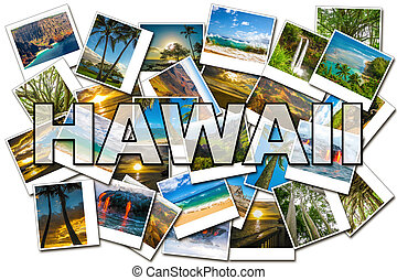 Hawaii pictures collage of different famous locations of the...