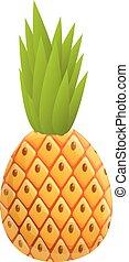 Hawaii pineapple icon, cartoon style