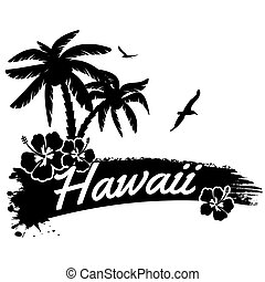 Hawaii in vitage style poster, vector illustration