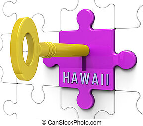 Hawaii Property Key Shows Real Estate From American Island Paradise - 3d Illustration